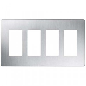 Claro Wall Plate - 4-Gang - Stainless Steel